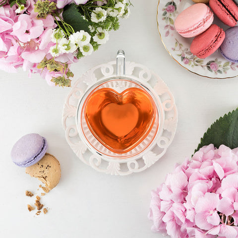 Heart Double Walled Glass Tea Mug