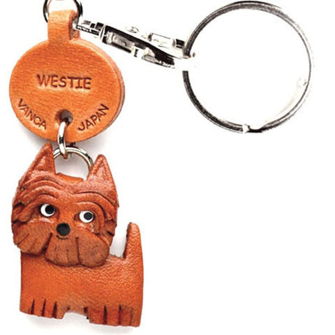 3D Leather Dog Keyring - Westie