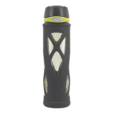 ZULU Atlas Glass Water Bottle - Black & Lime