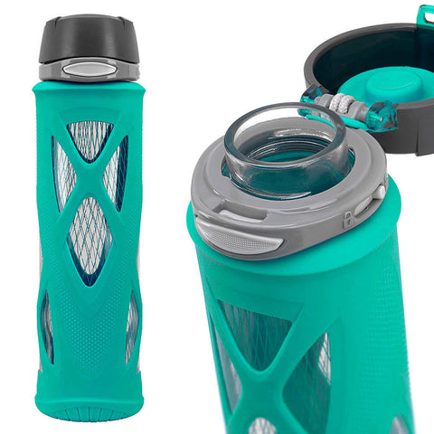 ZULU Atlas Glass Water Bottle - Teal