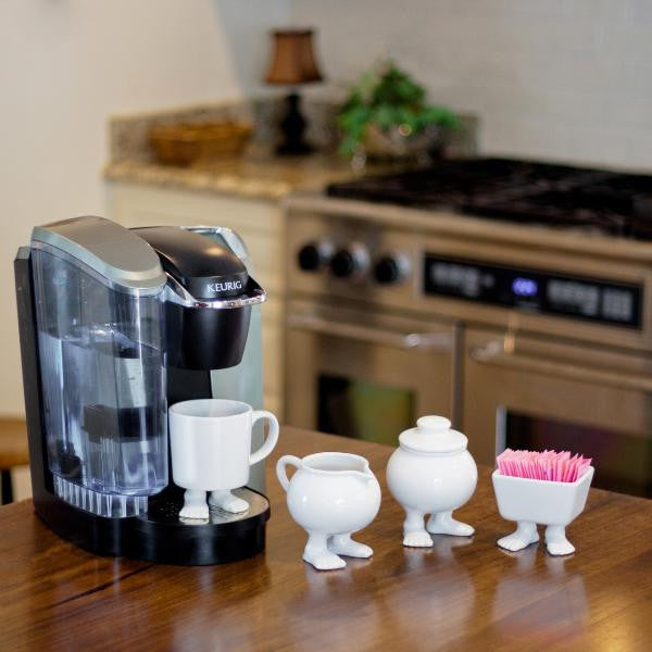 Efeet Footed Milk Jug by Dylan Kendall Lifestyle photo with coffee machine