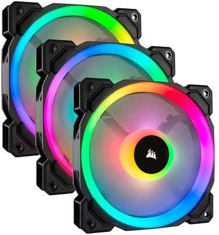 CO-9050072-CORSAIR LL120 | DUAL LIGHT LOOP 120MM PWM CHASSIC COOLING FAN | RGB LED | THREE PACK WITH LIGHTING NODE PRO.-CORSAIR-Dynacor IT & Gaming Solutions