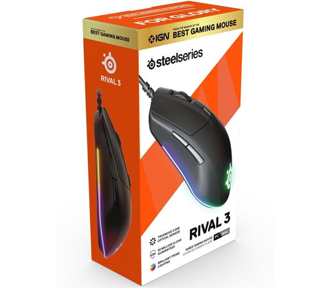 -STEELSERIES GAMING MOUSE - RIVAL 3 - BLACK (PC)-STEELSERIES-Dynacor IT & Gaming Solutions