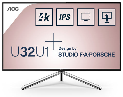 AOC-U32U1-AOC Monitor 31.5'' 4k; 3840x2160; IPS; Studio Porsche Design; HDR600; 90% DCI-P3; 111% Adobe RGB; Flicker Free; Low Blue Light-AOC-Dynacor IT & Gaming Solutions