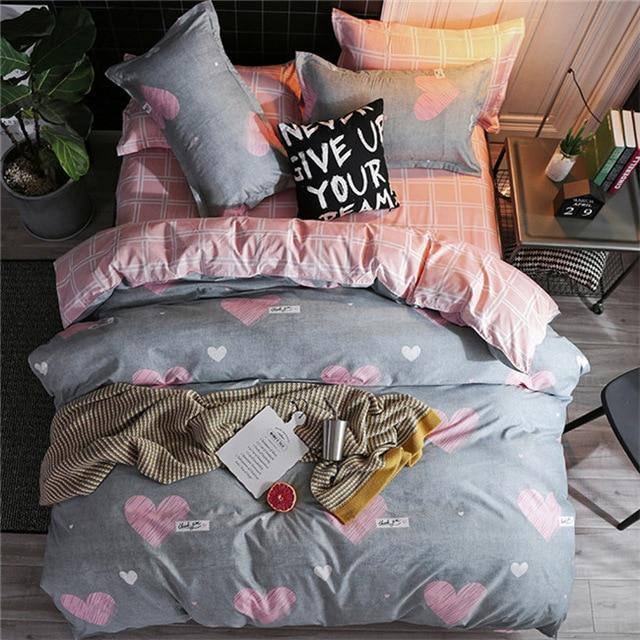 3/4pcs King Queen Size Home Textile Brief Nordic Bedding Set Men Women Bed Linen Black White Stripe Duvet Cover Pillowcase Sheet