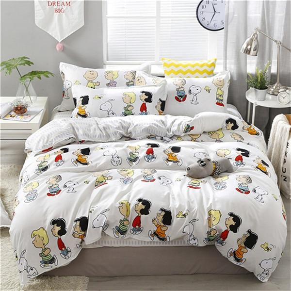 4pcs/set Cartoon Bear Printing Kawaii Bedding Set Bed Linings Duvet Cover Bed Sheet Pillowcases Cover Set