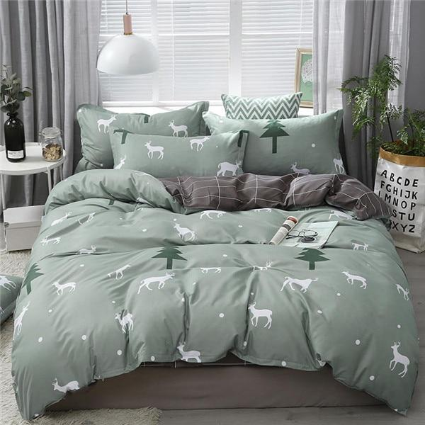 4pcs/set Brief Style Cartoon Printing Comfortable Bedding Set Bed Linings Duvet Cover Bed Sheet Pillowcases