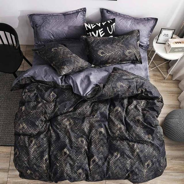 Luxury Bedding Set Duvet Cover Sets 3pcs Marble Super King Size Single Swallow Queen Full Twin Black Comforter Bed Linens Cotton