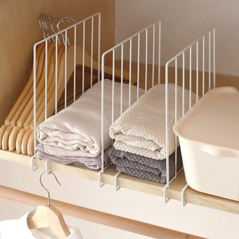 Vertical Closet Wood Shelf Divider - New and Improved Organizer with Easy Clamping - Powder Coated Steel Wire Wardrobe Separator