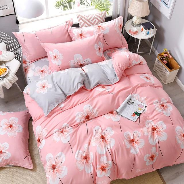 Fashion Bedding Set luxury Pink love Family Set Sheet Duvet Cover Pillowcase  Full King Single Queen,bed set 2019