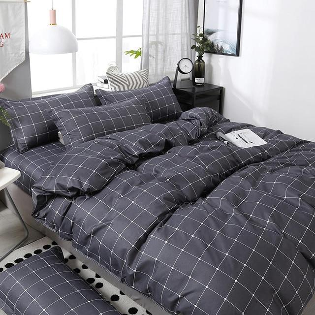3/4pcs Geometric Pattern Duvet Cover Flat Bed Sheet Pillowcase Bedding Set Soft Skin-friendly Room Decoration Home Textile