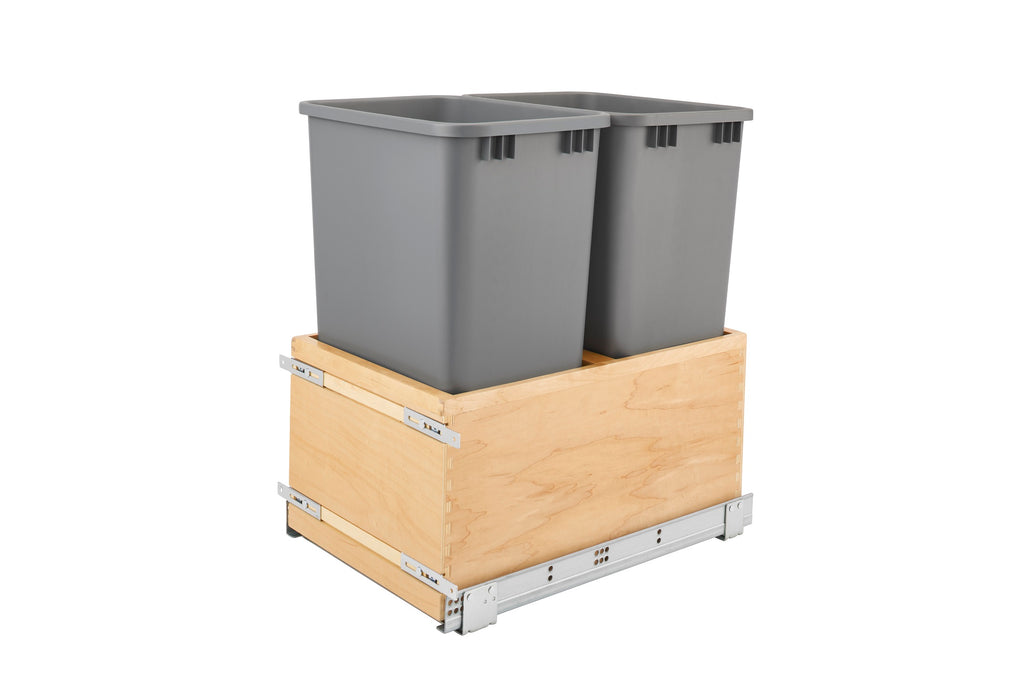 Full Height Pull Out Waste Basket Double 18""