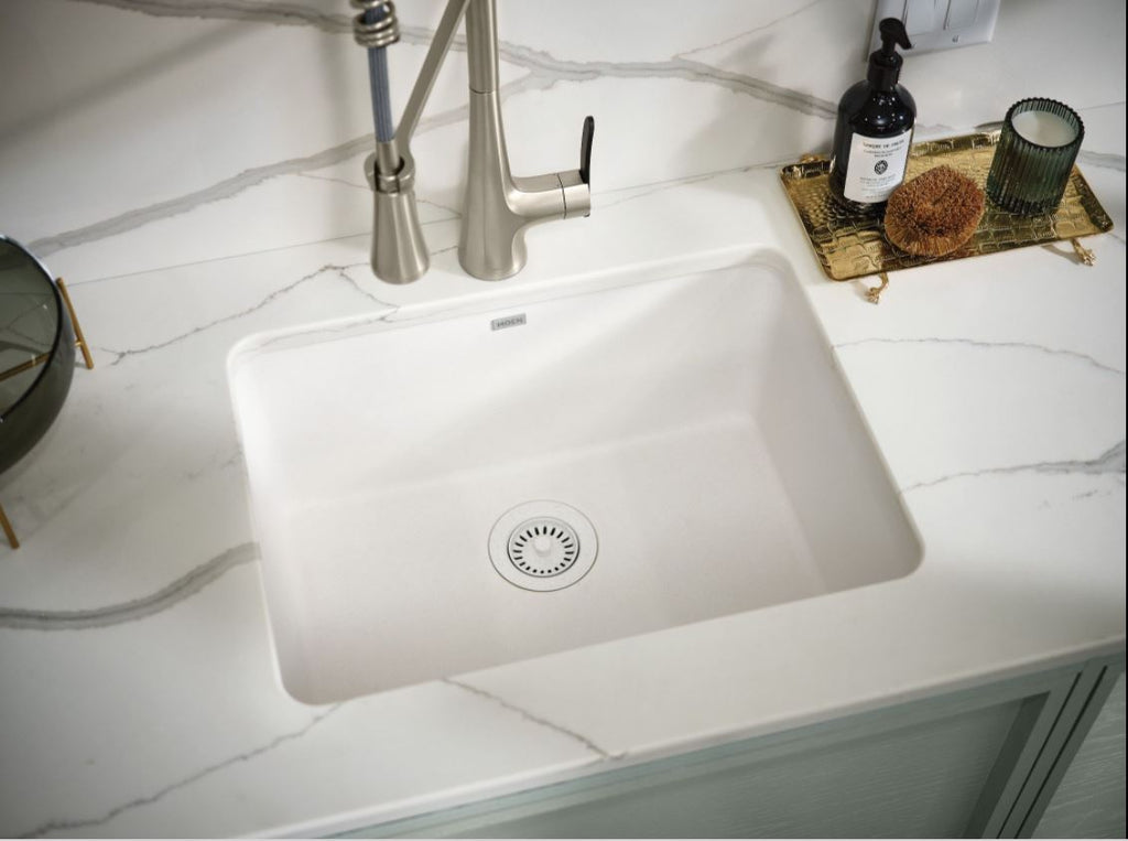 MOEN® White Single Basin Granite Sink