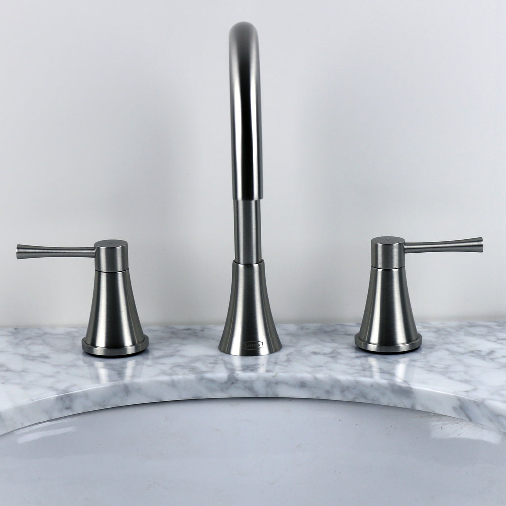 Brushed Nickel Large Gooseneck Bathroom Faucet