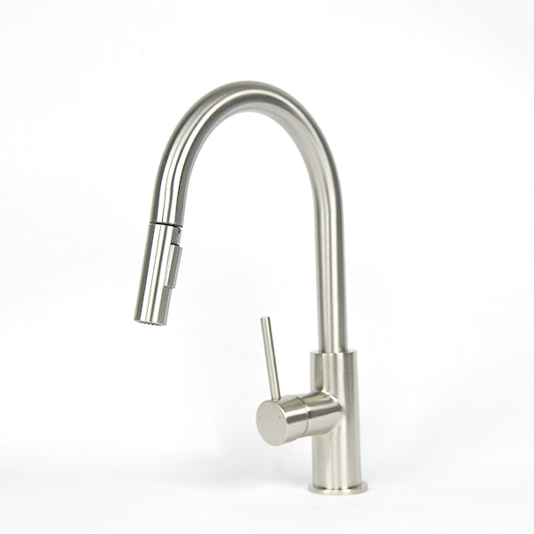 Brushed Nickel Modern Gooseneck Kitchen Faucet