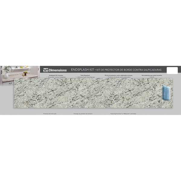 White Ice Granite End Splash Kit