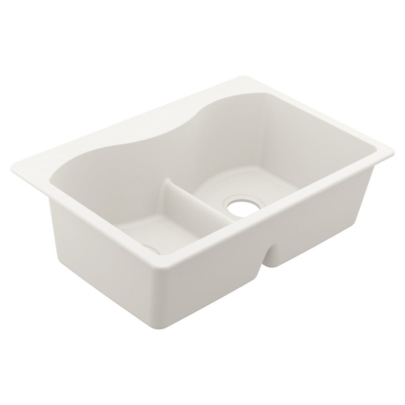 MOEN® White Double Basin Granite Sink