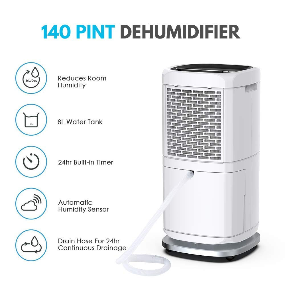 140 Pint Commercial Dehumidifier for Basement and Industrial
