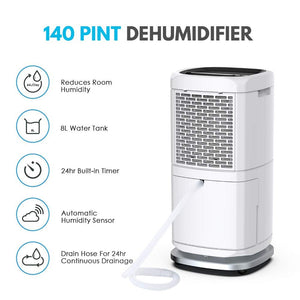 140 Pint Commercial Dehumidifier for Basement and Industrial | Colzer