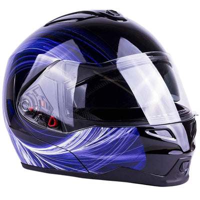 Adult Dual Visor Full Face Flip-up Helmet(Blue,XL)
