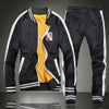 Patchwork Street With Velvet Number Men's Sports Suit