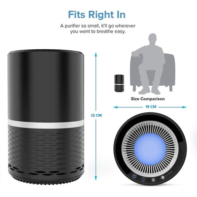 Air Purifier With Optional Night Light,US-110V,Black