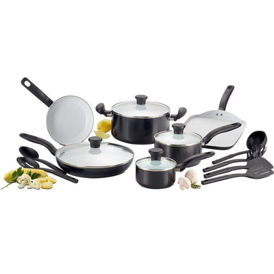 Nonstick 18-Piece Cookware Set,Red