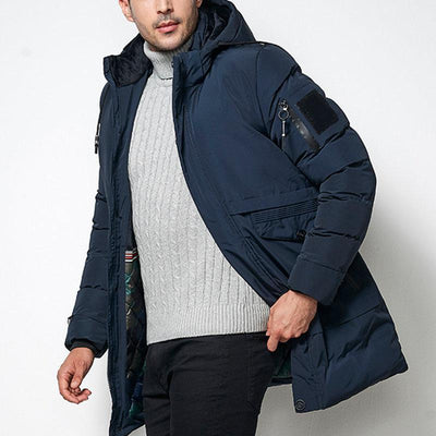 Down Fill Parka Side Pocket Hooded Coat