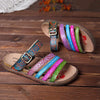Handmade Printing Stripe Genuine Leather Adjustable Buckle Comfortable Flat Sandals