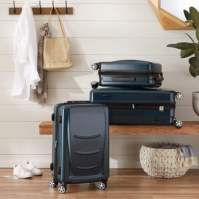 Navy Blue 4 double wheels Basics Luggage