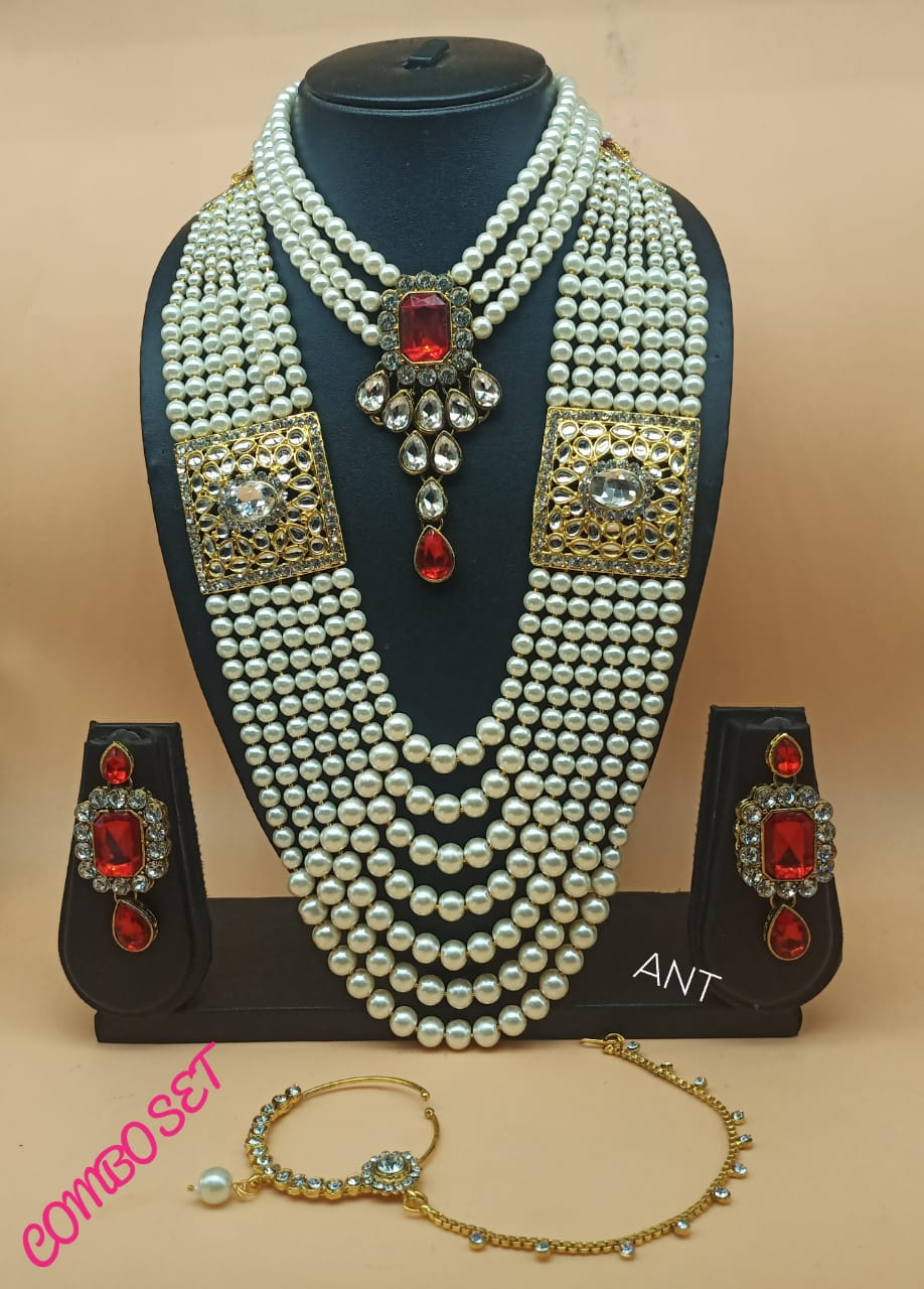 Choker set with long moti haar