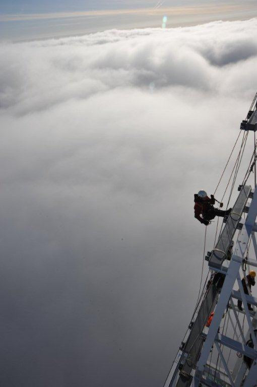 rope access worker on the shard