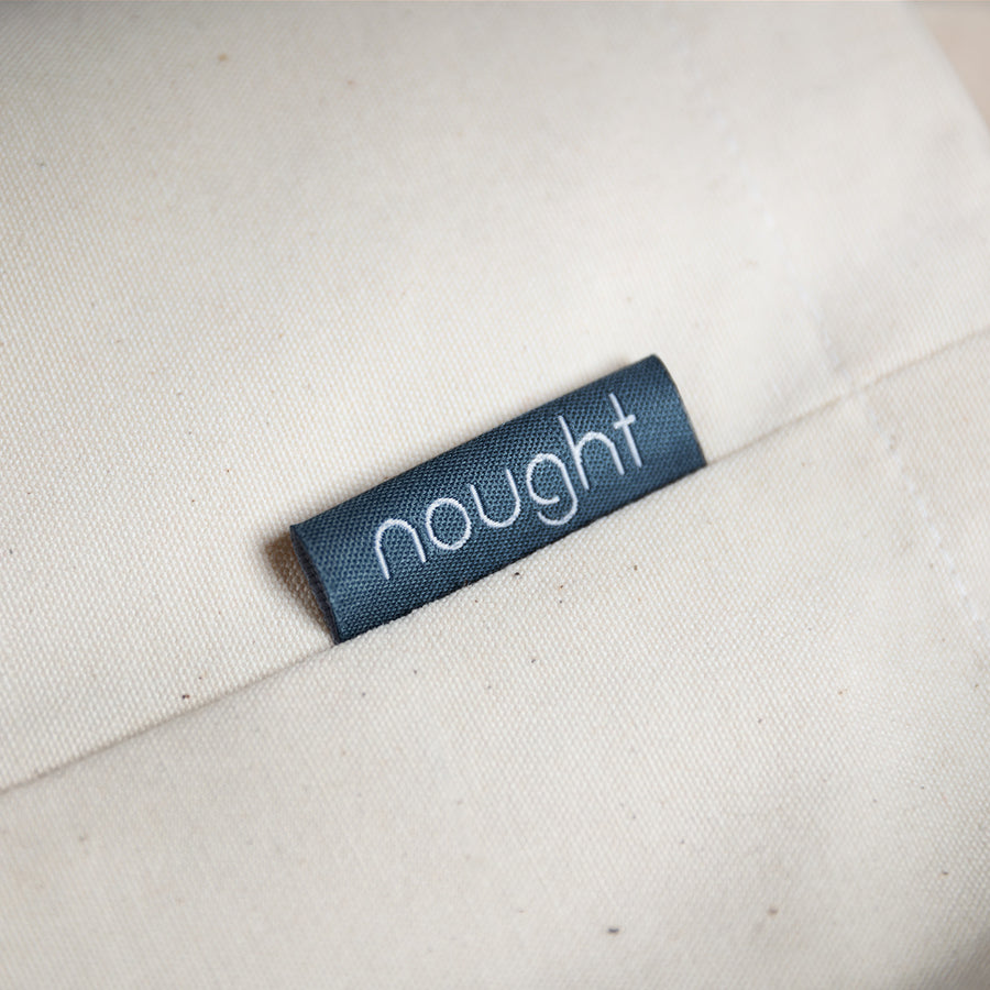Nought organic cotton reusable bag label
