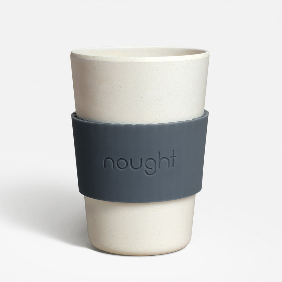 Nought bamboo fibre reusable coffee cup with sleeve