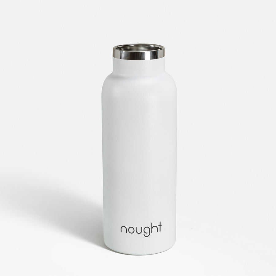 Nought stainless steel reusable water bottle lid off
