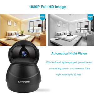 HIJUNMI Home Security Camera 1080P, Include 32GB Card FHD Wireless IP Pan/Tilt/Zoom Cam,WiFi Surveillance Dome Cameras,Two-Way Audio,Motion Detection - HIJUNMI Wifi Home Security Camera