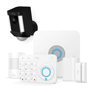 Ring Spotlight Cam Battery HD Security Camera with Built Two-Way Talk and a Siren Alarm, White, Works with Alexa - HIJUNMI Wifi Home Security Camera