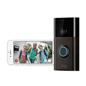 Ring Wi-Fi Enabled Video Doorbell in Satin Nickel, Works with Alexa - HIJUNMI Wifi Home Security Camera