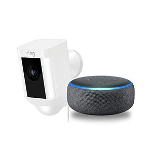 Ring Spotlight Cam Wired: Plugged-in HD security camera with built-in spotlights, two-way talk and a siren alarm, White, Works with Alexa - HIJUNMI Wifi Home Security Camera