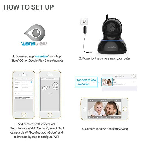 Wansview Wireless 1080P IP Camera, WiFi Home Security Surveillance Camera  for Baby/Elder/Pet/Nanny Monitor, Pan/Tilt, Two-Way Audio & Night Vision