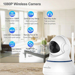 Wansview Wireless 1080P IP Camera, WiFi Home Security Surveillance Camera for Baby/Elder/Pet/Nanny Monitor, Pan/Tilt, Two-Way Audio & Night Vision Q3-S