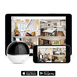 EZVIZ Mini 360 Plus 1080p HD Pan/Tilt/Zoom Home Security Camera - WiFi Surveillance System, Works with Alexa, Motion Tracking, Night Vision, Image Touch Navigation - HIJUNMI Wifi Home Security Camera