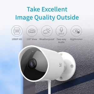 YI Outdoor Security Camera, 1080p Cloud Cam 2.4G Wireless IP Waterproof Night Vision Surveillance System with Two-Way Audio, Motion Detection, Activity Alert, Deterrent Alarm - iOS, Android App