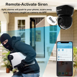 WiFi Security Camera 1080P,Wireless IP Pan/Tilt/Zoom Cam,Home Surveillance Dome Cameras,Two-Way Audio,Motion Detection - HIJUNMI Wifi Home Security Camera