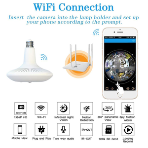 Light Bulb Camera 1536P Hiddec Spy Camera 3MP PIR Body Sensing Motion Detection Night Vision 360 VR Panoramic Security Camera - HIJUNMI Wifi Home Security Camera
