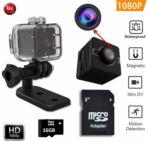 HIJUNMI 1080P Waterproof Hidden Spy Camera Mini HD Wide-angle Lens Camcorder Sport DVR Infrared Night Vision micro cam