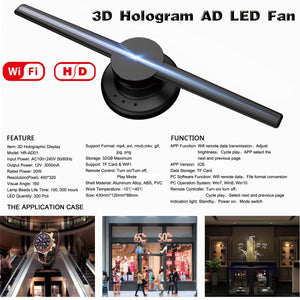 "HIJUNMI 42cm/16.54"" Wifi 3D Holographic Projector(Upgraded )Hologram Player LED Display Fan Advertising Light APP Control - HIJUNMI Wifi Home Security Camera"