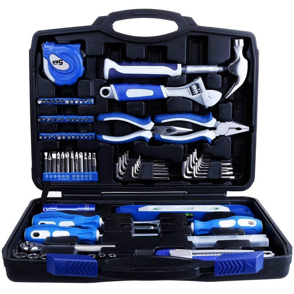 Home Repair Tool Kit with Plastic Toolbox Storage Case