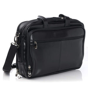 Leather Top-Zip Laptop Messenger Bag£¬Black