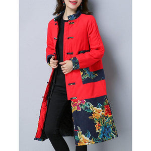 Vintage Printed Patchwork Women Thick Coats